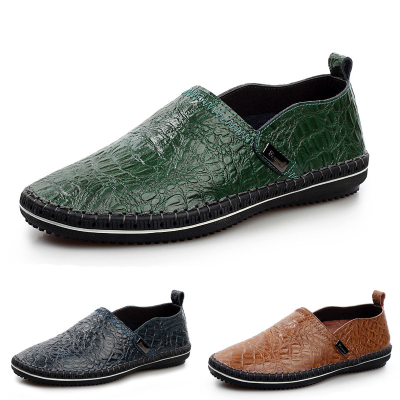 business casual s crocodile leather shoes sewn