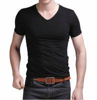 Men'sFashion High Eastic Lycra Cotton T-shirts Men Short  Sleeve V Neck Slim Tight New 2014  Free Shipping