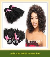 Free shipping 100% human Kinky Curl 5A Unprocessed Julia queen hair 4pcs Lot Peruvian Virgin Hair Extensions Natural Color