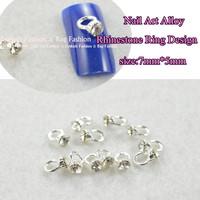 2014 20pcs*Nail Metal Charm Ring with Rhinstone  Fashion Nail Art Decoration Dropshipping L001