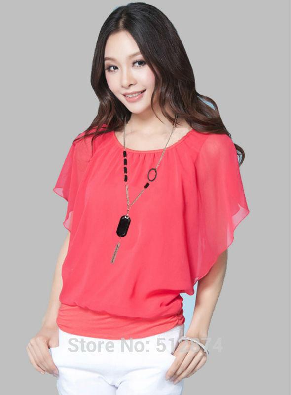 Women chiffon blouse casual Loose Short Sleeve shirt women sheer