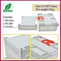 4pcs/lot plastic box for electronic project pcb din rail enclosure 115*90*72mm 4.53*3.54*2.83inch