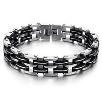 Fashion Layer Silica Gel Chain Link Bracelet Stainless Steel Men's Bracelet