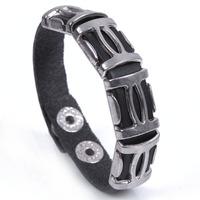 wholesale new 2014 fashion 3 pcs men jewelry super Star punk leather Bangles High Quality black Bracelets & Bangle 1064