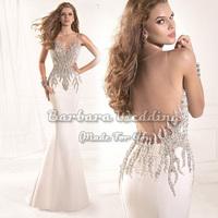 Elegant 2014 Tarik Ediz Sheer Scoop Neckline Fully Sequined Top Sleeveless Sexy Evening Dress Formal Dress Designer Dropshipping