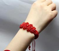 Natural agate bracelet weaving red rope hand string