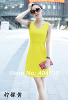 New arrival 2014 Sleeveless Dresses Women Korean fashion Slim Sexy lady's dress free shipping