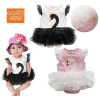 Free SHipping Beautiful angel swan baby girl dress style bodysuits/summer pink baby clothing/Retail Baby costume