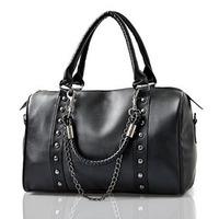 New 2014 Fashion Black Women Shoulder Bags Handbags Rivet Chain Women Messenger Bags Lady Satchel Boston Bags Sac a main