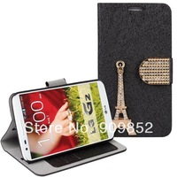 For LG G2 Leather Case,Diamond Eiffel Tower Leather Case for LG G2 (D802) + free shipping+MOQ 1PCS