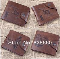 2014 New Genuine leather with PU wallet male short design vintage purse antique wallet card holder wallet