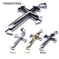 TSN077001-357 Fashion 316L Stainless Steel Men's Cool Cross Necklaces Silver / Black / Gold