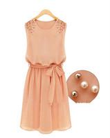 Womens Fashion Chiffon Pleated Bow Sleeveless Shoulder Beads Dress  FREE SHIPPING  #5488