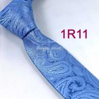YIBEI Coachella ties Men's SKINNY Tie Sky Blue Paisley Necktie Woven SLIM Tie Narrow fashion Tie to Men Wedding cravate