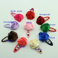 New Children Accessories Satin rose Flower Hair Clips for Baby Boutique Girls Hair Pins Baby Products 40pcs/lot