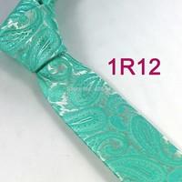 YIBEI Coachella ties Men's SKINNY Tie Silver Turquoise Green Paisley Necktie SLIM Tie Narrow fashion Tie to Men Wedding cravate