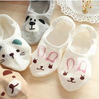 New 2014 Spring and Summer Women's Cartoon Boat Socks Bear Cat Rabbit Comfortable Cotton Lady socks Brand For Womens SN W793