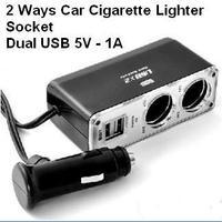 DHL Free Shipping 100pcs/Lot Dual USB Port 2 Ways Twin Socket Car Cigarette Lighter Splitter Charger Adapter 12--24V 1A Output