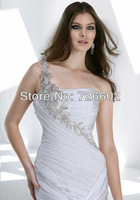 Free shipping luxury crossover single strap drag balance due silk wedding dress Style No. 120206027