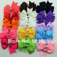 Satin Ribbon Bows with Hair Clip for Girls Solida color Hair bow for Baby Toddler Hair Pin Hair Accessories 40pcs Free