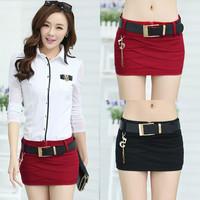 2014 Spring Slim Hip Bust Skirt Short Skirt Denim Fashion Sexy Miniskirt Free Send Exquisite Belt 0256