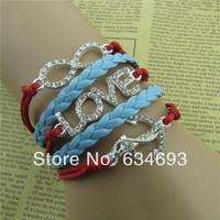 Anchor Love Infinity Rhinestone Charm Silver Handmade Dainty Everyday Bridesmaids Bracelet