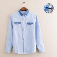 2014 denim blue color block decoration pocket male casual shirt c1111-60