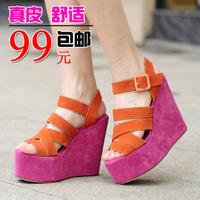 Comfortable wedges sandals female genuine leather platform shoes sandals summer shoes female