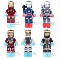 Without Original Box !Iron Man Series Figures 6pcs/lot Building Block Sets Minifigures Educational DIY Bricks Toy for children