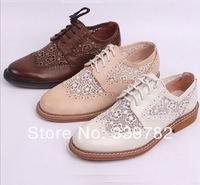 New women Oxfords shoes Lace&Genuine leather lace up girls pink Oxfords shoes high quality free shipping 100% Authentic leather.