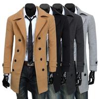 2104 male trench medium-long slim wool coat men's clothing woolen outerwear 7669