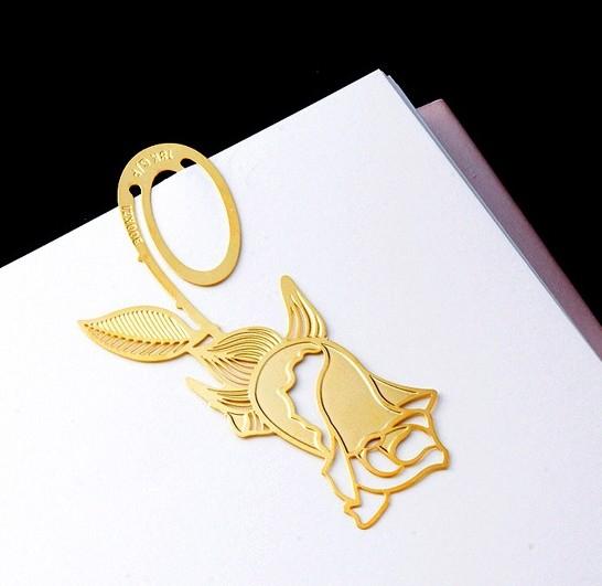 New! (20sets/lot) Rose design gold palted Bookmark / metal book clips & Paper cards set(Hong Kong)