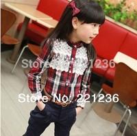 Free shipping new 2014 Lace plaid long-sleeved shirt Girls shirt Kids skirt children t shirts