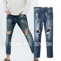 Free shipping!  New Arrival 2014  girls  Vintage Distrressed Big  Hole   Denim Pants Womens   Ladies Leisure fashion Pants