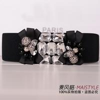 2014 New Fashion High Quality Rhinestone Ribbon Beaded Cummerbund All-match Black Belts Female Skirt Decoration Accessories