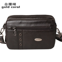 Gold coral multifunctional small messenger bag cowhide male waist pack male genuine leather small shoulder bag
