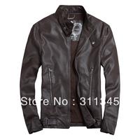 THOOO New HOT GENTLEMEN'S Black Brown pu faux leather classic fashion Slim Coat Motorcycle jacket szie 7sizes TM201309010