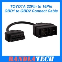 Good Quality For TOYOTA 22Pin to 16Pin OBD1 to OBD2 Connect Cable Free shipping
