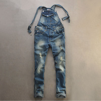 Suspenders Men's Vintage Ripped  jeans detachable suspenders Redline bib pants holes denim overalls