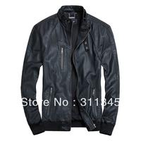 THOOO New HOT GENTLEMEN'S Black Brown pu faux leather classic fashion Slim Coat Motorcycle jacket szie 7sizes