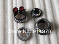 full carbon fiber road bicycle headset taper washer/spacer + Cylindrical washer+top cap+seat clamp cycling parts headset