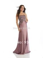 Strapless Grape Chiffon Prom Dress