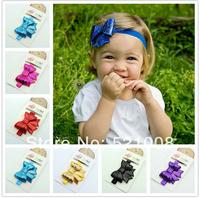 Shine Sequin Newborn Bow Headband Big Hair bow Flower  Headband for Newborn Infant Baby Girl Hair Accessories 20pcs Free