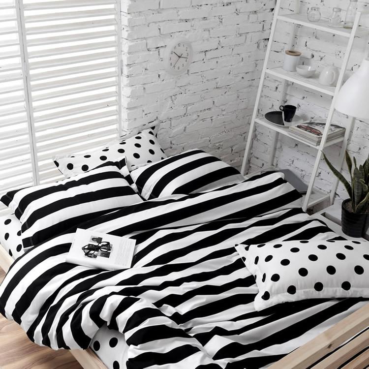 Soft cotton polka dot and stripe bedding sets white black 4 pcs bedding twin queen king