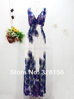 2014 V-Neck Peacock Casual Summer Dress Maxi Dress Plus Size 3XL-5XL Blue free shipping