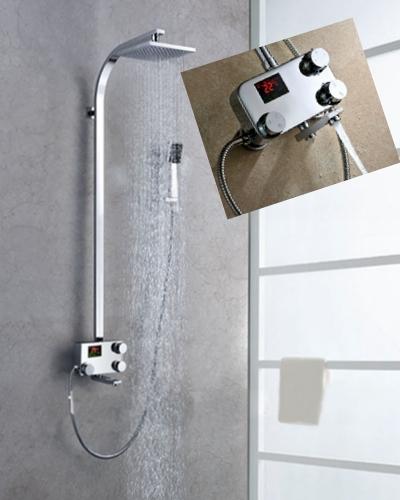 Termostático digital display led grifo de la ducha con 8 pulgadas de ducha cuadrado + handshower