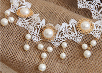 Bride pearl lace frontal wedding hair jewelry hair bands