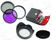 55mm UV  CPL  FLD Filter Set  + Petal Flower Lens Hood + Front Lens Cap Cover for Sony Alpha A200 A300 A350 A230 A330 A580