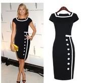 New 2014 Cotton Button Pencil Dress Fashion Square Collar Patchwork Dress for Women Vintage Sheath Lady's Dress