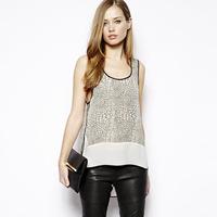 2014 new fashion Masklike print black border patchwork chiffon shirt vest haoduoyi